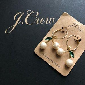 NWT J. Crew Pearl cherry earrings